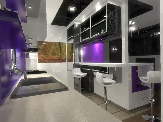 biało czarna kuchnia z fioletowymi akcentami