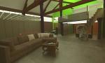 widok z salonu na resztę loftu